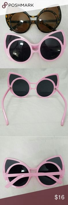 """2 Pair of CAT'S EYE Sunglasses - Tortoise & Pink Item: *2 Pairs of Ladies Large Cats Eye Sunglasses *One Pair is Soft Pink, One Pair is Brown Tortoise *Each Lens Measures 2.75""""w x 3""""h *NWOT  *no trades, offers via offer button only* Accessories Sunglasses"""