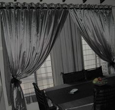Silver Grey Dining Room Curtain With Double Eyelet Rod Design Black Organza Detail Through
