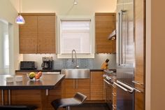 Kitchens With Pitched Ceiling Design Ideas, Pictures, Remodel and Decor Contemporary Kitchen Cabinets, Contemporary Kitchen Design, Transitional Kitchen, Kitchen Cabinet Design, Ceiling Design, Kitchen Remodel, Living Spaces, Home Improvement, Architecture