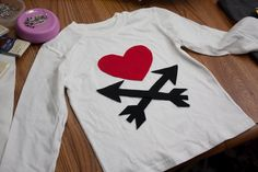 Valentine's Day Shirt for Boy - Heart and Arrows - Long Sleeve T shirt - Short Sleeve - Made to Order. $25.00, via Etsy.