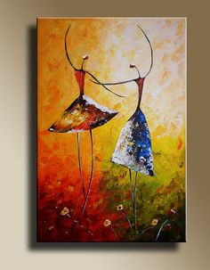 Original acrylic painting of Ballet Dancers by Edit Voros on canvas Wall Decor on Etsy,    $145.00