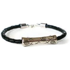 mens black braided leather cuff decorative tube by jcudesigns, £8.50