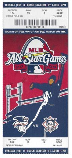 2009 MLB All Star Game St. Louis stub
