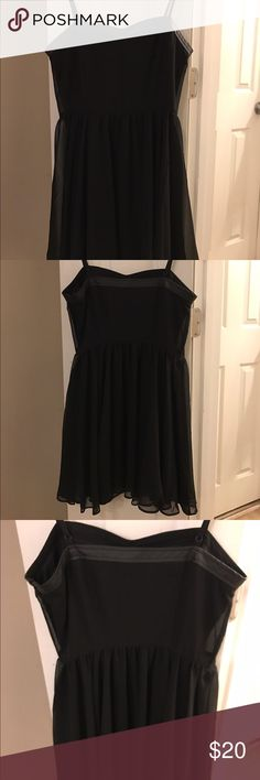Black Cami Dress With Pleather Band This dress is barely worn and perfect for special occasions! Comfortable, flowing, and simple, this dress will wow anyone! Forever 21 Dresses