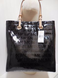 e6770d766ea9 Michael Kors Jet Set Item Tote MK Signature Mirror Metallic Black  38T4CTTT3I  MichaelKors  TotesShoppers