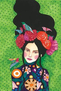 "green - woman with birds - ""best kept secret"" - watercolor on paper - illustration - Hülya Özdemir Art And Illustration, Illustrations, Painting Inspiration, Art Inspo, Kunst Inspo, Art Plastique, Portrait Art, Portraits, Female Art"