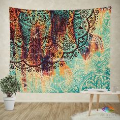 Looking for that special piece of home décor to transform your room from ordinary to extraordinary? A tapestry is so much more than a simple home décor item; it is a work of art.Dress up your wall, bed, chair or use it on the go. This uniquepiece of art can be used in different ways as tapestry, wall hanging, Bedspread, Bed Cover, Table Cloth, Sofa cover and etc. This beautiful mehendy henna style Indiemandala with a Ethnofeel with traditional Indian design elements is placed on a…