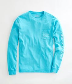 Long-Sleeve Vintage Whale Graphic Pocket T-Shirt: 1 OF MY FAVORITE COLORS (SMALL)