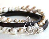 Perla pulsera cuero Multi abrigo bohemio pulsera perlas cuero y plata