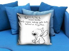 Lilo Series Ohana Lilo and Stitch 18x18  These soft pillowcase made of 50% cotton, 50% polyester.  It would be perfect to decorate your home by using our super soft pillow cases on sofa, chair, bench or bed.  Customizable pillow case is both comfortable and durable, improving the quality of your sleep with these comfortable pillow case, take it home now!  Custom Zippered Pillow Cases available in 7 different size (16″x16″, 18″x18″, 20″x20″, 16″x24″, 20″x26″, 20″x30″, 20″x36″)