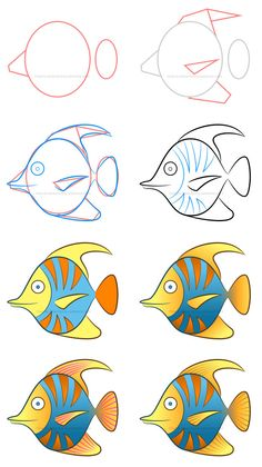 How to draw a tropical fish clipart Need more colors in your life? This cute tropical fish is definitely what you need! Learn how to create a colorful tropical fish clipart filled with simple patterns and great digital effects. Fish Drawings, Art Drawings Sketches, Cartoon Drawings, Animal Drawings, Fish Drawing For Kids, Art Drawings For Kids, Art For Kids, Drawing Lessons, Drawing Tips