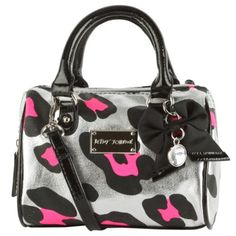 Betsey Johnson Purse Barrel Mini Satchel Bag Cross Body Cheetah Silver Pink Betsey Johnson, HANDBAGS if you wish to buy just CLICK on AMAZON right HERE http://www.amazon.com/dp/B00GPE78C8/ref=cm_sw_r_pi_dp_AlvPsb0QZC4TAVJR
