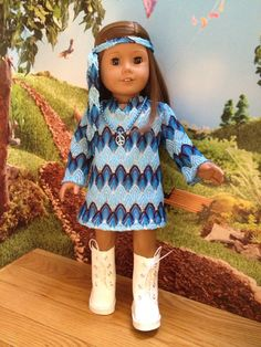 American girl doll clothes Halloween Hippie by SewSmallNSweet American Girl Halloween, American Girl Doll Julie, American Girl Dress, American Girl Clothes, American Dolls, Bitty Baby Clothes, Ag Doll Clothes, Doll Clothes Patterns, Journey Girls