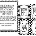 """This fun music themed Bulletin Board kit is a twist based on the ever popular game Words with Friends.  Our version is called """"Music with Friends.""""..."""