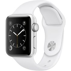 Apple Watch Series 2 38mm Silver-Tone Aluminum Case with White Sport... ($369) ❤ liked on Polyvore featuring jewelry, watches, silver, sport jewelry, sport wrist watch, stainless steel watches, silvertone watches and stainless steel wrist watch