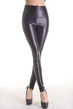 Fitted Style High Elasticity Solid Color PU Leather Women's Cheap Pants, BLACK, ONE SIZE in Pants & Shorts | DressLily.com