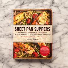 "The book: Sheet Pan Suppers by Molly Gilbert   	 The angle: One sheet pan, 120 different dinners, zero fuss.   	 Recipes for right now: Quick Chicken & Baby Broccoli with Spicy Peanut Sauce, Crispy Chicken Strips & Biscuits, Fancy Tuna Melts, Fajita Flank Steak with Peppers & Onion, Spaghetti Squash ""Noodle"" Bowls   	 Who would enjoy this book? Busy home cooks."