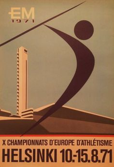 Helsinki@10~15.8.1971 Helsinki, European Championships, Track And Field, Vintage Posters, Athlete, Letters, Events, News, Poster Vintage