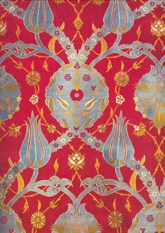 Long-sleeved kaftan with an ogival vine bearing medallions and tulips (detail), Third quarter of the century, long, Topkapi Palace Museum, Istanbul Textile Fabrics, Textile Patterns, Textile Design, Print Patterns, Pattern Texture, Surface Design, Turkish Art, Paisley, Museum Collection