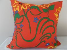 "This Brunschwig & Fils Red and Green Rooster Decorative Pillow Cover, by French Designer Paule Marrot, is a Beautiful Novelty Pillow, that Showcases the Vintage French ..""HUGUES CAPET"".. [First King of the Franks] Red Print Design Pattern.   This Abstract Pattern Features Green Outlines of a Proud Rooster and Flower Stem Leaves and Outlines of Yellow Sunflowers, Along with Blue Flower Arrangements, Against a Vivid Red Background, with the Same Fabric on Both Sides.    ."