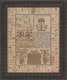Trenton, New Jersey silk on linen needlework sampler wrought by Mary B. Jones 1813