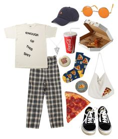 """all i need is pizza"" by nightlikethis ❤ liked on Polyvore featuring Anti Social Social Club, Vans, Block Headwear, OUTRAGE, Cabbages & Roses and Hot Topic"