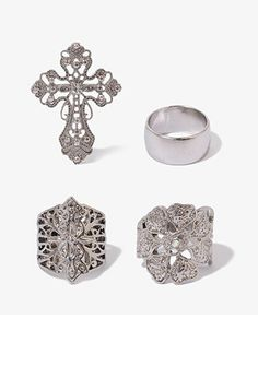 Antiqued Cross Ring Set | FOREVER21 - 1025632720
