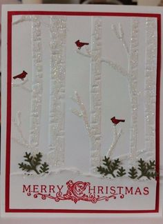 CHRISTMAS CARD KIT HANDMADE STAMPIN' UP WOODLAND, CHRISTMAS LODGE, SNOW