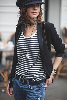 Stripped tee, black blazer.