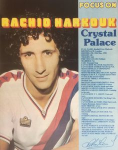 Focus On Rachid Harkouk of Crystal Palace in Crystal Palace Fc, Football Memorabilia, Vintage Football, Great Team, Football Players, Profile, Baseball Cards, 1980s, Legends