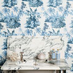 SUMATRA Wallpaper Off White / Azure