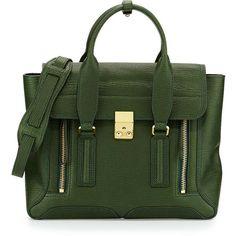 3.1 Phillip Lim Pashli Medium Zip Satchel Bag ($895) ❤ liked on Polyvore featuring bags, handbags, green, zip zip satchel, green handbag, zipper handbag, top handle satchel handbags and satchel handbags
