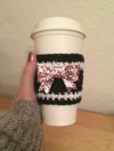 Pink Bow Cozy Coffee Sleeve Coffee Cozy Beverage by SweetAffairsCo