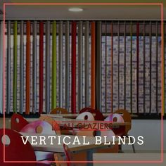 Multi Coloured fabric vertical blinds for homes and offices to enhance home decor and interiors Blinds For Windows, Offices, Homes, Interiors, Fabric, Color, Home Decor, Shades For Windows, Tejido