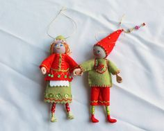 Felt Art Doll Hanging Ornament Elf Piksee in Red by WhisperingOak