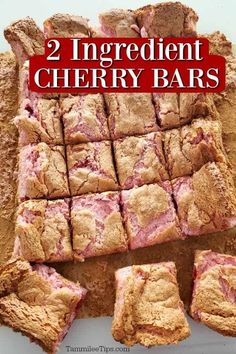 Crazy EASY to make 2 ingredient Cherry Bars Recipe! All you need is cherry pie filling and an angel food cake mix to make this great dessert. These are great for classroom parties, Valentine's Day, holiday parties, Christmas or family dessert. Seriously so easy to make you will love them! #cherry #dessert #2ingredient #easyrecipe