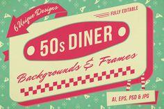 1950s Diner Backgrounds and Frames