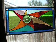 """Stained Glass Window Panel """"Dancing Sun"""""""