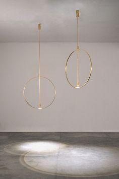 LUXURY LAMPS   Suspensions Ceiling (Studio Formafantasma). Gold chandeliers with minimal design   www.bocadolobo.com