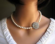 Cream Ivory Pearl Necklace with Crystal Brooch Pendant, Vintage Inspired Jewelry