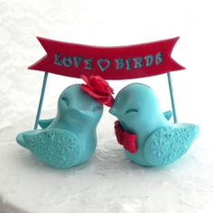 Wedding Cake Topper Love Birds Poppy Red and Aqua by LavaGifts, $82.00