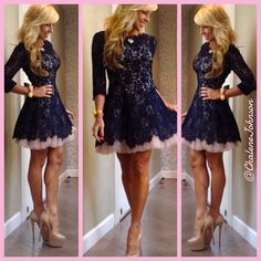 navy and baby pink dress…shoes by #christianlouboutin