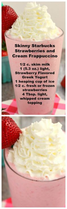 Under 200 calories, this Strawberries and Cream Frappuccino recipe is amazing! This Copycat Strawberry Frappuccino Starbucks recipe tastes just like it! Smoothie Drinks, Healthy Smoothies, Healthy Drinks, Smoothie Recipes, Lunch Smoothie, Smoothie Diet, Yummy Drinks, Delicious Desserts, Yummy Food
