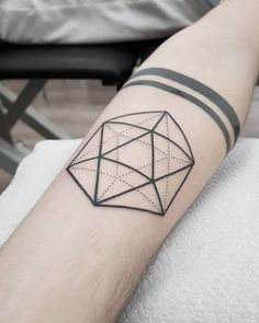 "645 Likes, 4 Comments - Spaceman (@om.karma.tattoo) on Instagram: ""Icosahedron and a little touch up on the black bands I did last year. #essentiaritualis #blkttt…"""