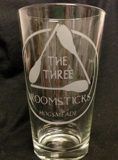 Harry Potter Inspired The Three Broomsticks Design Custom Etched Pint Glass Hogsmeade butterbeer. Need these