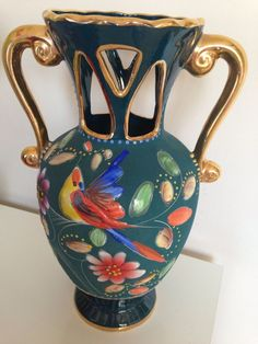 Bequet Quaregnon Vintage Handed Painted Vase in Majolica
