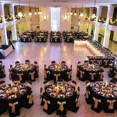 Black gold wedding - WeddingWednesday held this beautiful reception with our Black classic chair covers and Victorian Gold Duchess Satin Sashes centered by florals by Get the Gatsby Party, Gatsby Wedding, Gold Wedding, Dream Wedding, Wedding Day, Great Gatsby Prom, Formal Wedding, Budget Wedding, Trendy Wedding