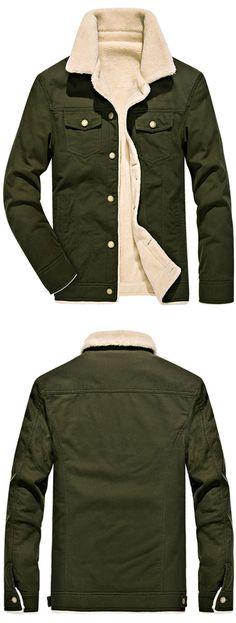 Chest Button Pocket Faux Shearling Denim Jacket