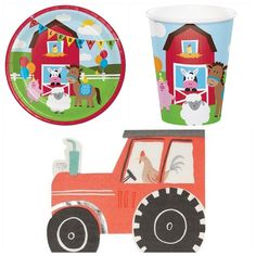 Farm Themed Party Pack for 8   Fabulous Partyware Party Kit, Party Packs, Party Ideas, Girl Party Foods, Farm Themed Party, Balloon Background, Party Themes For Boys, Party Napkins, Dinosaur Birthday