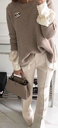 #spring #outfits  gray Chanel sweater. Pic by @city_fashion_blogger
